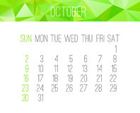 October 2016 monthly calendar. October 2016 vector monthly calendar. Week starting from Sunday. Contemporary low poly design in bright green color Stock Images