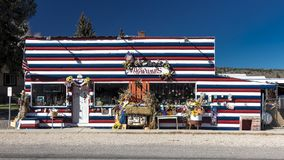 Mugwumps Antique store in Hatch Utah is decorated in Red White a. OCTOBER 27, 2017 - Mugwumps Antique store in Hatch Utah is decorated in Red White and Blue Stock Photography
