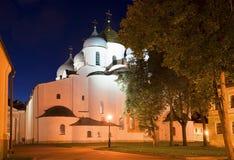 October night at St. Sophia Cathedral. The Kremlin of Veliky Novgorod Royalty Free Stock Images