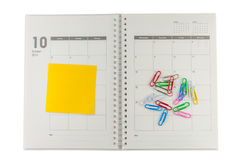 2014 October organizer with post-it and clips. 2014 October organizer with post-it and clips, planner concept Stock Photos