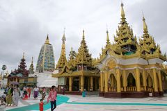 On October 2015, pilgrims visiting Shwedagon Pagoda in Yangon, Myanmar Royalty Free Stock Photos