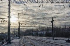October Railway transport junction in winter Stock Photography