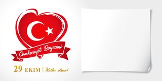 Cumhuriyet Bayrami, 29 ekim kutlu olsun, Republic Day Turkey vector poster. 29 october Republic Day Turkey and the National Day in Turkey 95 years, happy holiday royalty free illustration