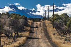 Road to Mount Sneffels, San Juan Mountains, Ouray County SW Colo. OCTOBER 21, 2017 - RIDGWAY, COLORADO - Road to Mount Sneffels, San Juan Mountains -remote road stock image