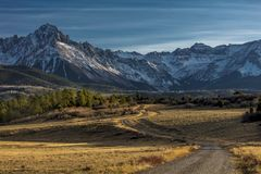 Top of Pines Wilderness Area shows Road to Mount Sneffels. OCTOBER 21, 2017 - RIDGWAY, COLORADO - Top of Pines Wilderness Area shows Road to Mount Sneffels stock images