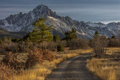 Top of Pines Wilderness Area shows Road to Mount Sneffels. OCTOBER 21, 2017 - RIDGWAY, COLORADO - Top of Pines Wilderness Area shows Road to Mount Sneffels stock image