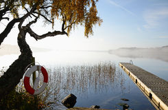 October's morning on Swedish lake Stock Photography