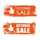 October sale drawn banner with fall leaf Stock Image