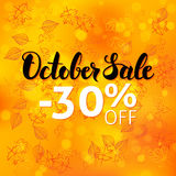 October Sale Poster Blurred Background. Vector Autumn 30 Discount Flyer with Lettering Illustration. Fall Leaves over Seasonal Label Royalty Free Stock Image