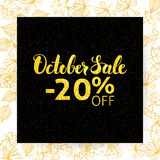 October Sale Poster. Vector Autumn Seasonal Illustration. Gold and Black -20 off Discount Design Template stock illustration