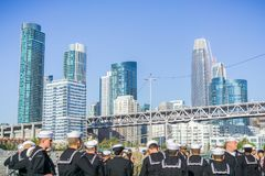 A group of navy personnel interact with the public during fleet week; San Francisco. October 7, 2017 San Francisco/CA/USA - A group of navy personnel interact royalty free stock photo