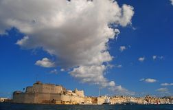 October skies over Fort St Angelo and Vittoriosa. October skies over Fort St Angelo and Vittoriosa in Malta Stock Photos