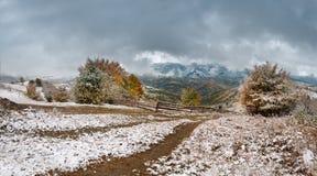 October Snow. In Carpathian mountains, ukaraine Stock Photos