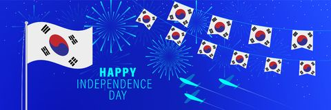 October 3 South Korea Independence Day greeting card.  Celebration background with fireworks, flags, flagpole and text. Vector illustration vector illustration