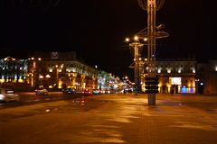 October square at night, Minsk Stock Image