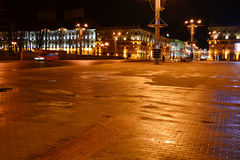 October Square at night in Minsk Stock Images