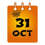October 31 st calendar colored icon. Halloween. Black inscription with cobweb on orange background. Vector stock illustration
