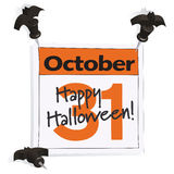 October 31st. Halloween calendar page Royalty Free Stock Photo