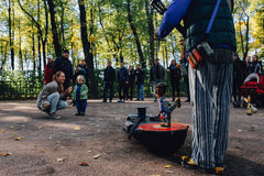 5 october, 2013. St. Petersburg, Russia. Puppet show in the park. 5 october 2013. St Petersburg, Russia. Puppet show in autumn park Royalty Free Stock Photos