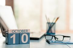 October 10th. Day 10 of month, calendar on analyst workplace background. Autumn concept. Empty space for text.  royalty free stock image