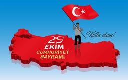 October 29th Turkish republic day celebration over a 3D Turkey m vector illustration