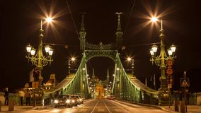 17 October 2016. Time lapse. Traffic on Liberty bridge. Budapest stock video
