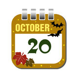 October twenty calendar sheet Stock Image