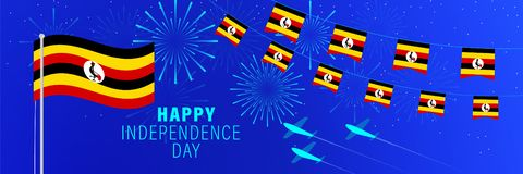 October 9 Uganda Independence Day greeting card.  Celebration background with fireworks, flags, flagpole and text. Vector illustration royalty free illustration