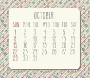 October 2017 calendar. October 2017 vector calendar with hand drawn text over pastel dotted and striped background. Week starting from Sunday Stock Photos