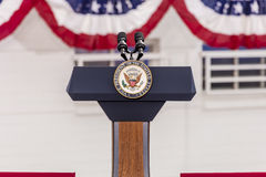 OCTOBER 13, 2016, Vice Presidential Seal and Empty Podium, awaiting Vice President Joe Biden Speech, Culinary Union, Las Vegas, Ne stock photos