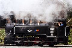 The locomotive of the Mocanita on the Vaser Valley Royalty Free Stock Images