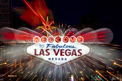 Welcome to Fabulous Las Vegas Nevada. OCTOBER 27, 2017 - Welcome to Fabulous Las Vegas Nevada - famous neon sign at dusk with zoom effect Royalty Free Stock Images