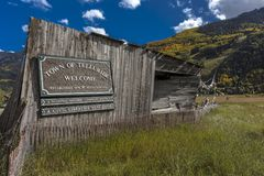 Welcome to Telluride Colorado. OCTOBER 8, 2017 - Welcome to Telluride Colorado Royalty Free Stock Photo