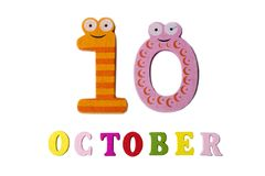 October 10, on a white background, numbers and letters. Calendar Stock Images