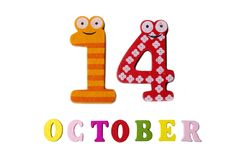 October 14 on white background, numbers and letters. Calendar vector illustration