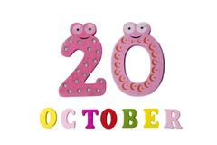 October 20 on white background, numbers and letters. Calendar Royalty Free Stock Image