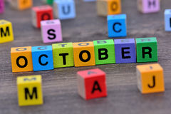 October word on table Stock Image