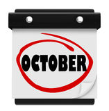 October Word Wall Calendar Change Month Schedule Royalty Free Stock Photos
