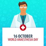 16 October. World Anaesthesia day. Medical holiday. Vector medicine illustration. 16 October. World Anaesthesia day. Medical holiday. Vector medicine Royalty Free Stock Images