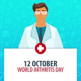 12 October. World Arthritis day. Medical holiday. Vector medicine illustration. 12 October. World Arthritis day. Medical holiday. Vector medicine illustration Stock Images