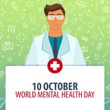 10 October. World Mental Health day. Medical holiday. Vector medicine illustration. 10 October. World Mental Health day. Medical holiday. Vector medicine Stock Images