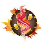 Octoberfest的横幅与颜色飞溅、秋叶、木桶和杯子啤酒 免版税图库摄影