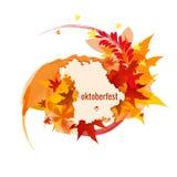Octoberfest的横幅与颜色飞溅,秋叶,巴伐利亚的地图 免版税图库摄影