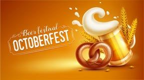 Octoberfest节日横幅用啤酒椒盐脆饼和麦子 免版税库存图片
