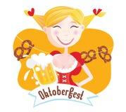 octoberfest bavarian kobieta ilustracja wektor
