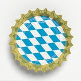 Octoberfest, Beer cap with Bavaria flag isolated on white background, top view. 3d illustration. Octoberfest, Beer festival, Germany. Golden beer cap with Royalty Free Stock Images