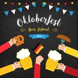 Octoberfest beer festival colorful poster. Composition with human hands toasting beer in centre and beer glasses in. Circle. Pretzels, beer, sausage and flag vector illustration