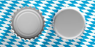 Octoberfest, Front and back view of blank beer caps on Bavaria flag background, top view. 3d illustration. Octoberfest, Beer festival, Germany. Front and back Royalty Free Stock Image