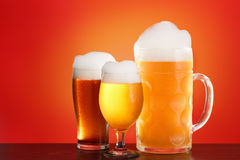 Octoberfest beer on red background. Royalty Free Stock Image