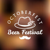 Octoberfest best festival. Vector illustration. German Hat with Feather, Moustache and Wheat. Stock Image